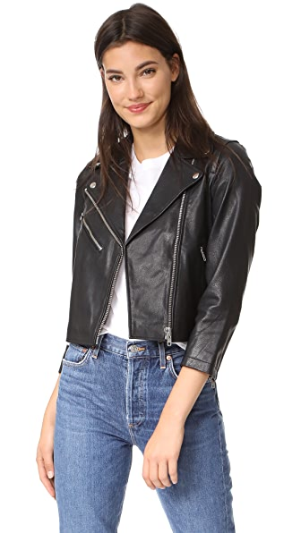 Madewell Cropped Leather Jacket - Pale Cement