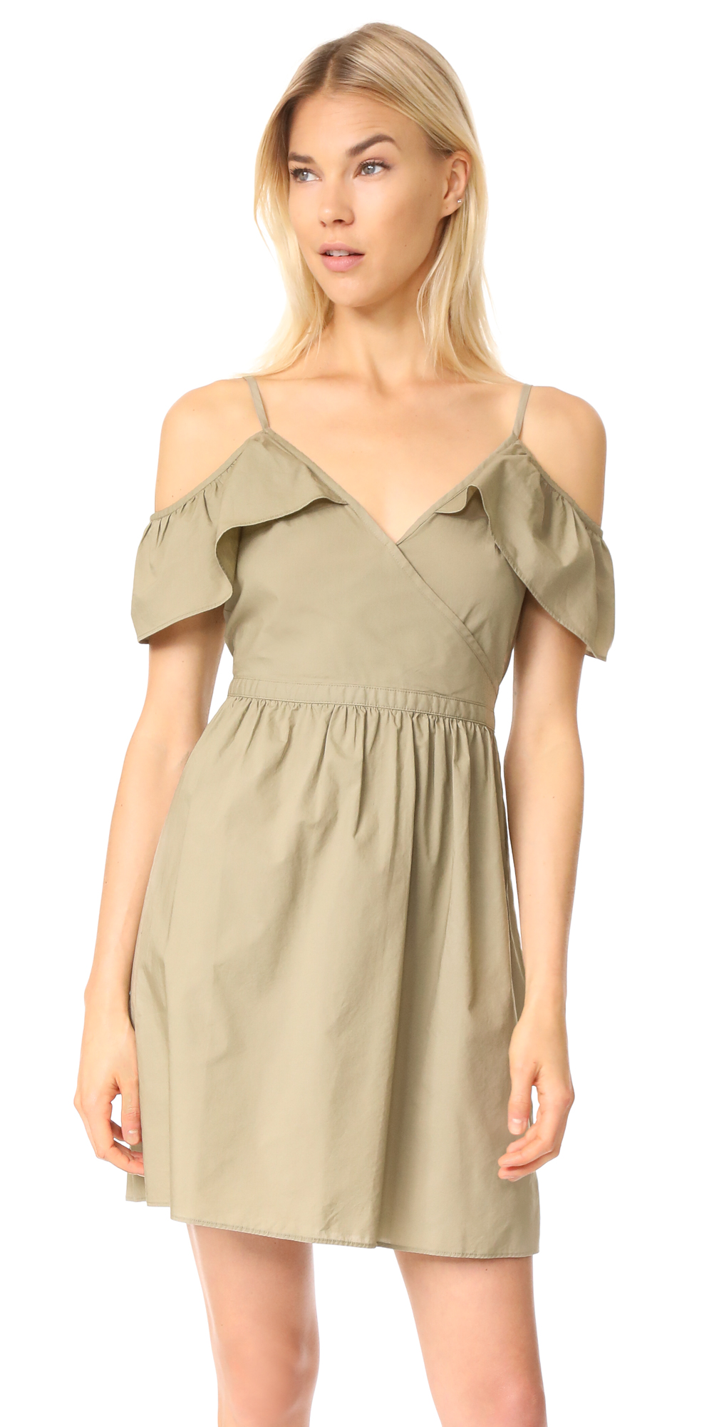 Khaki Cold Shoulder Dress Madewell
