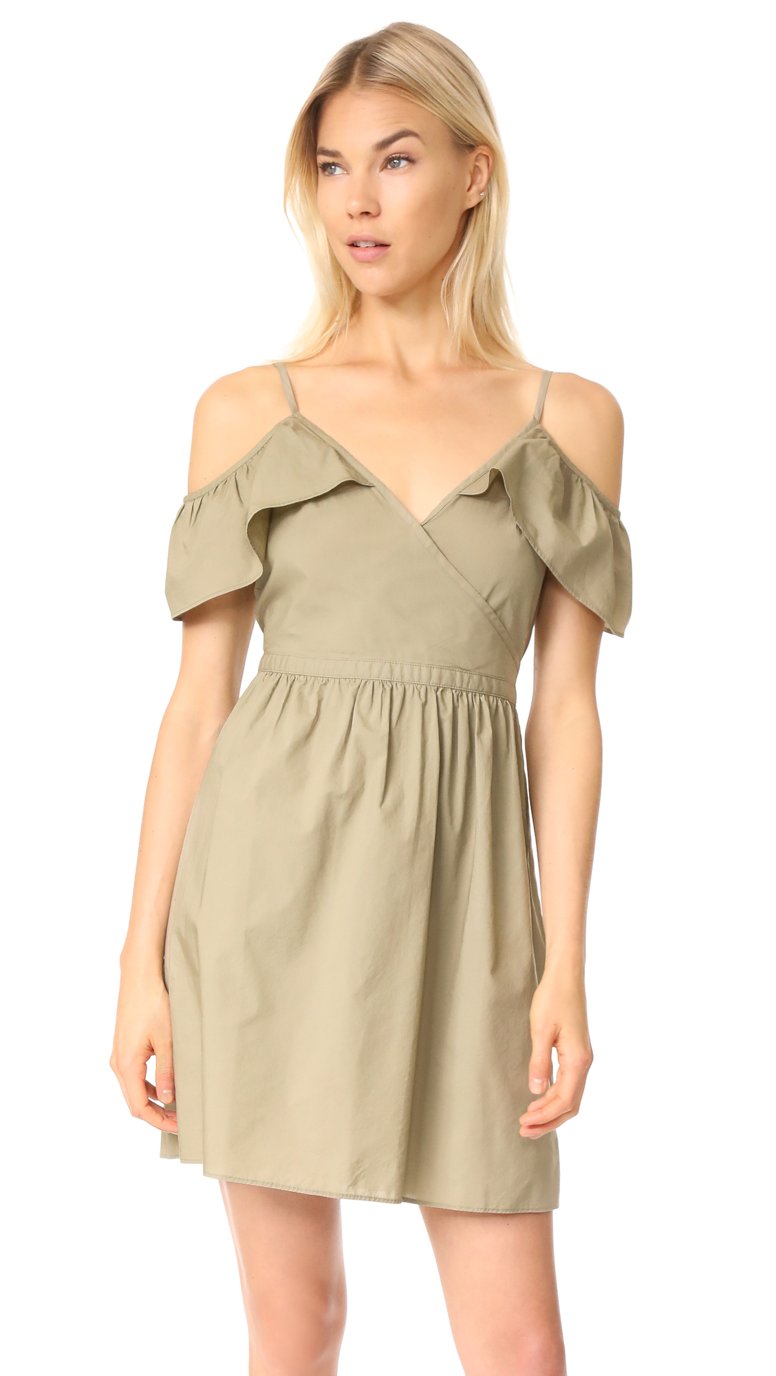 Madewell Khaki Cold Shoulder Dress - Ash Green