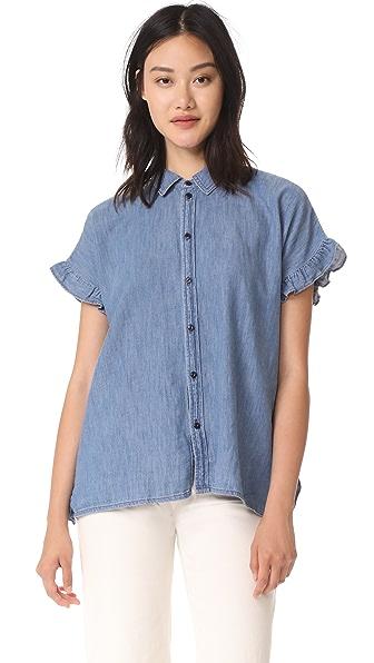 Madewell Indigo Ruffle Side Shirt - Veronique Wash