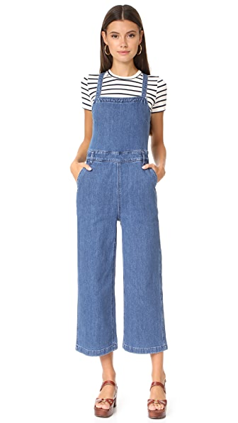 Madewell Denim Lace Up Back Jumpsuit - Bristol Wash