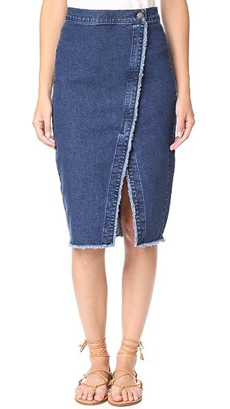 Madewell Denim Overlay Raw Hem Midi Skirt - Pomona Wash