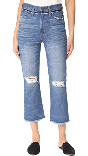 Madewell Retro Cropped Bootcut Jeans With Ripped Knees - Cornwall
