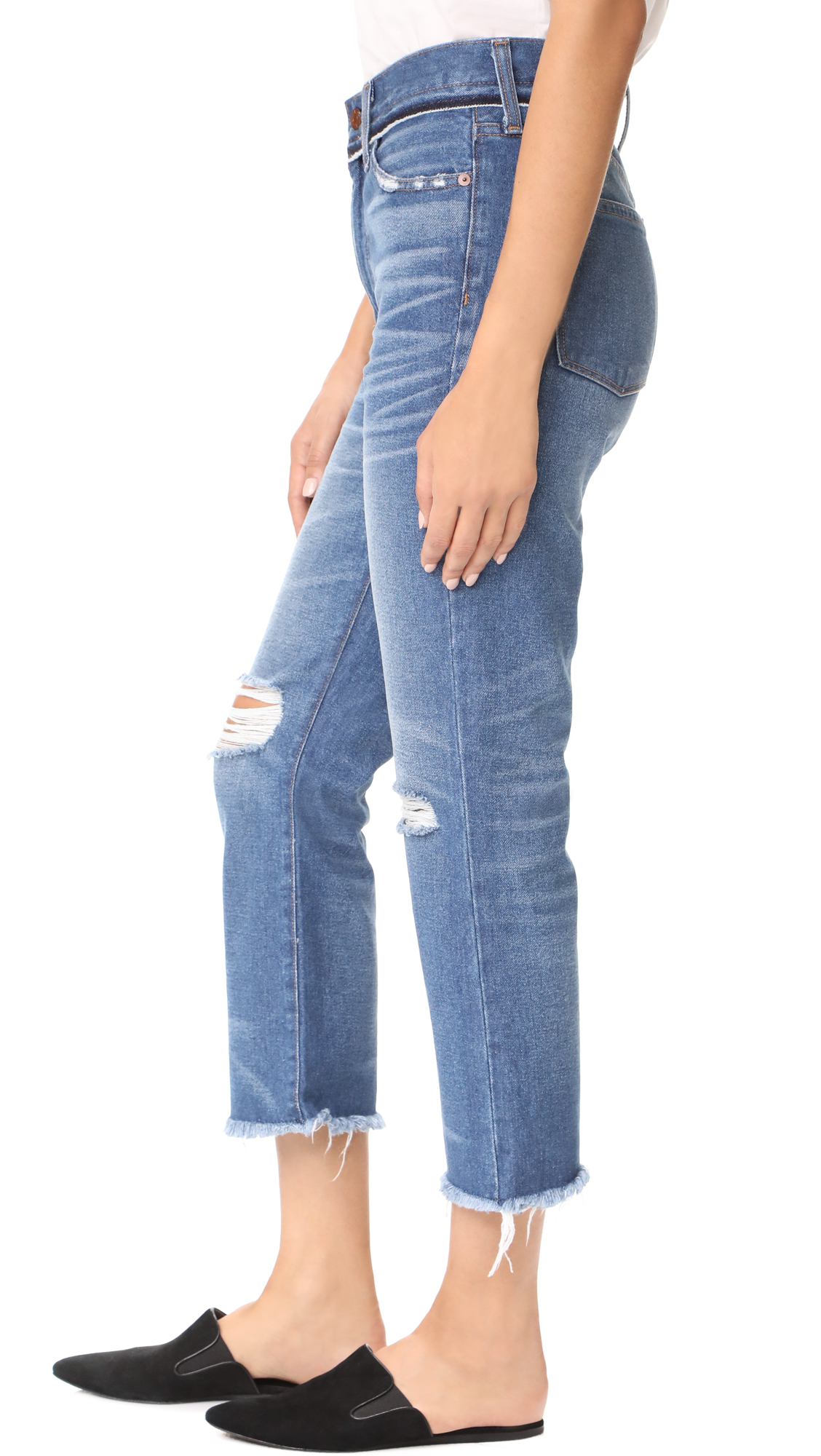 91354f09c9a Madewell Retro Cropped Bootcut Jeans With Ripped Knees   SHOPBOP