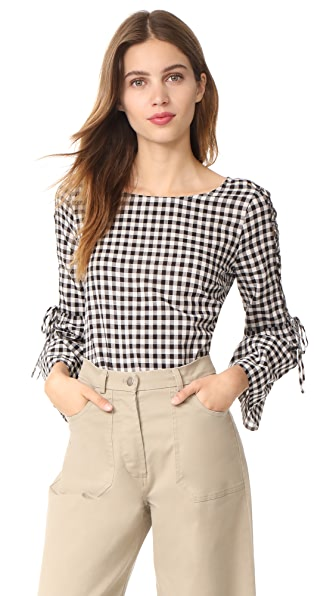 Madewell Lace Up Belle Sleeve Blouse in Gingham In True Black