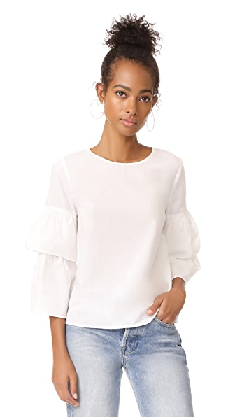 Madewell White Poplin Tiered Sleeve Top - Bright Ivory