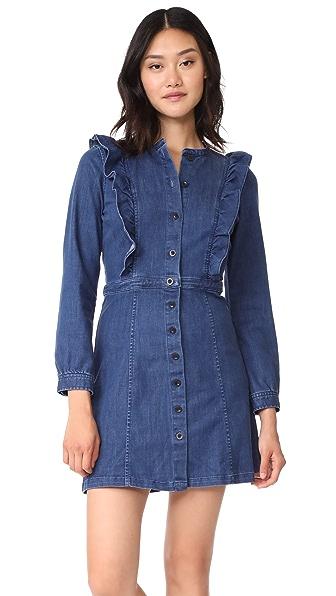 Madewell Denim Ruffle Waist Dress - Dovedale Wash