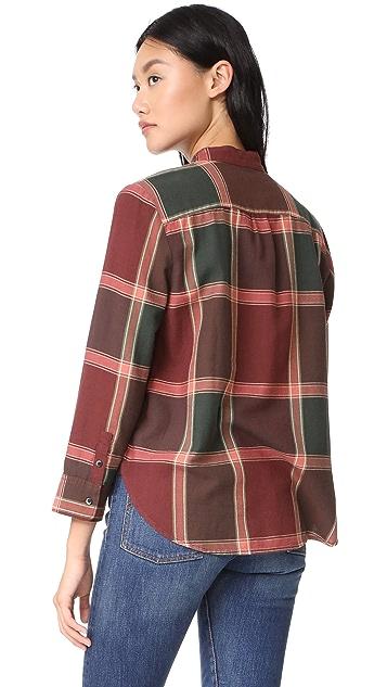 Madewell Plaid Tie Neck Shirt