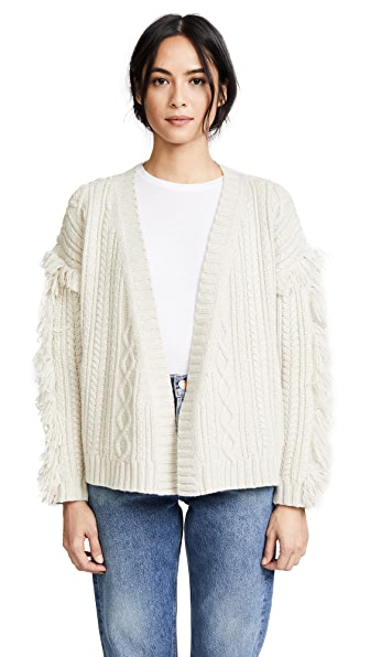 Madewell Cable Knit Fringe Cardigan Sweater at Shopbop