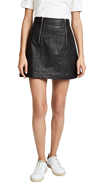 Madewell Leather Uptown Zip Skirt