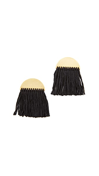 Madewell Half Moon Fringe Earrings - True Black
