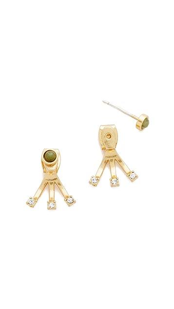 Madewell Tiny Jewels Front-Back Jade Stud Earrings