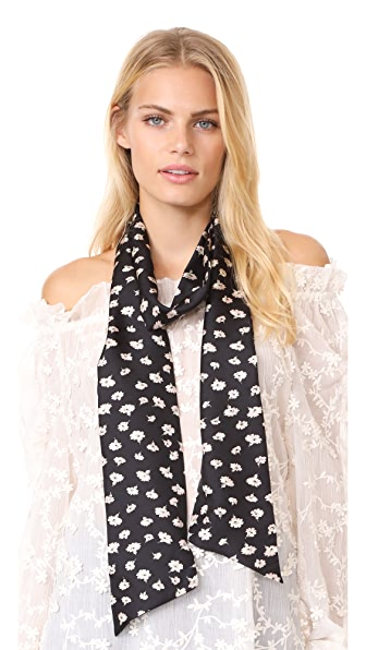 Madewell Seattle Floral Skinny Mensy Scarf - True Black