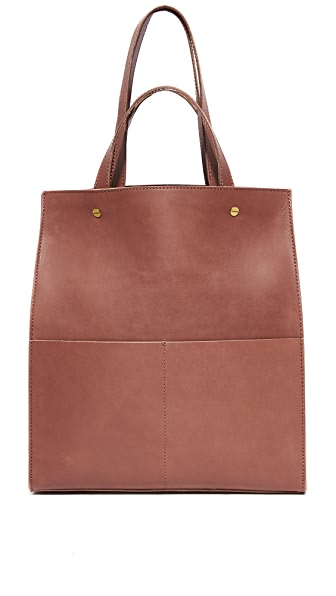 Madewell Large Trick Handle Tote - Rich Brown