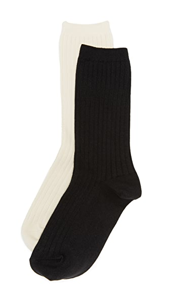 Madewell Two-Pack Ribbed Heather Trouser Socks In Black/Cream
