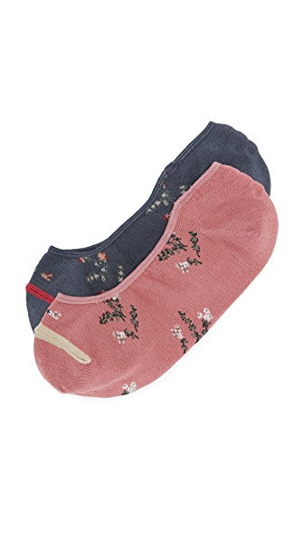 Madewell Two-Pack Wild Botanica Low-Profile Socks In Navy/Rose