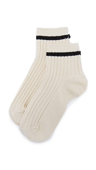 Madewell Striped Ribbed Anklet Socks - Cream/Black