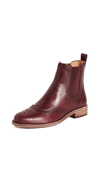 Madewell Chelsea Brogue Boots In Dark Cabernet