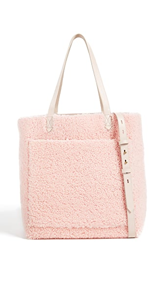 Madewell Medium Transport Tote in Shearling In Avalon Pink