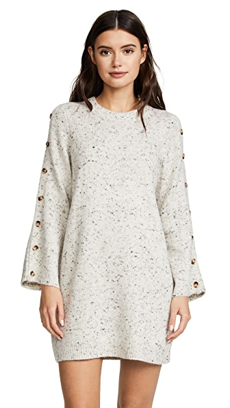 Madewell Donegal Button Sleeve Sweater Dress In Donegal
