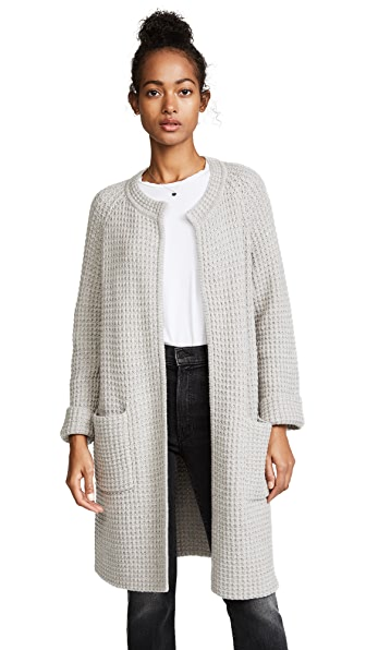 Madewell Long Waffle Cardigan In Silver Cloud