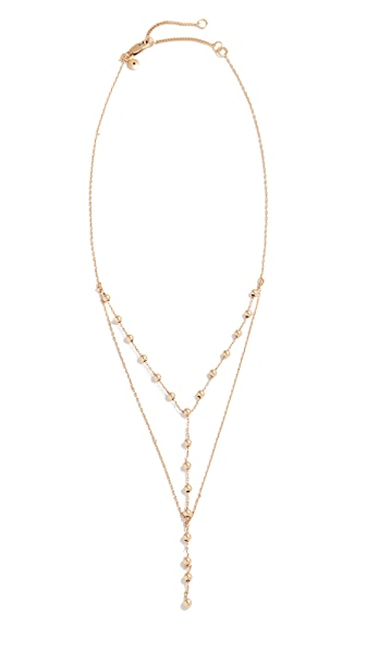 Madewell Double Layer Ball Lariat Necklace In Light Gold Ox
