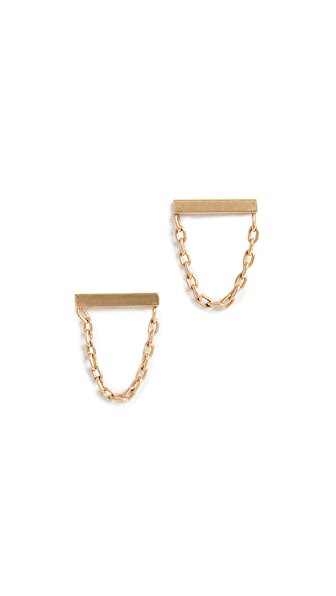 Madewell Delicate Bar and Chain Stud Earrings In Shiny Brass
