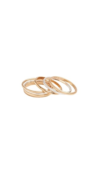 Madewell Delicate Stacking Ring Set In Mixed Metals
