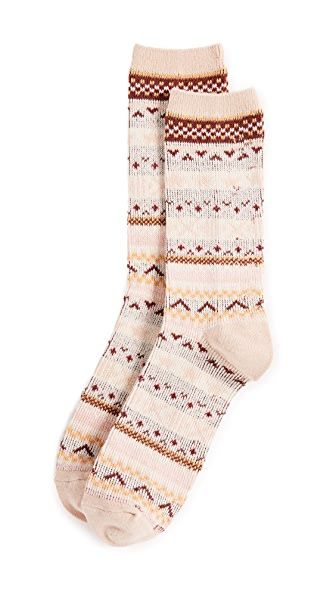Madewell Faire Isle Trouser Socks In Avalon Pink