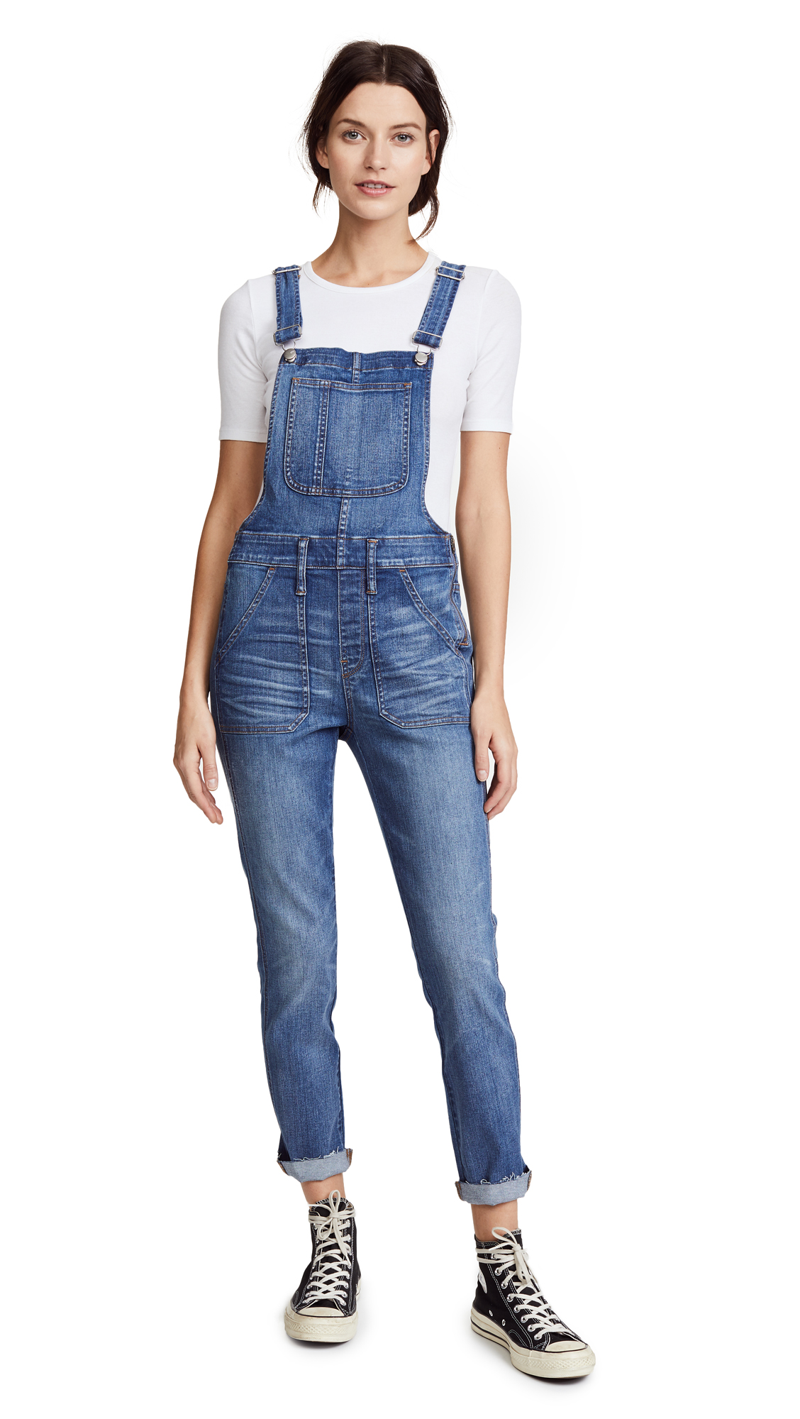 Madewell Skinny Indigo Overalls with Raw Hem In Indigo