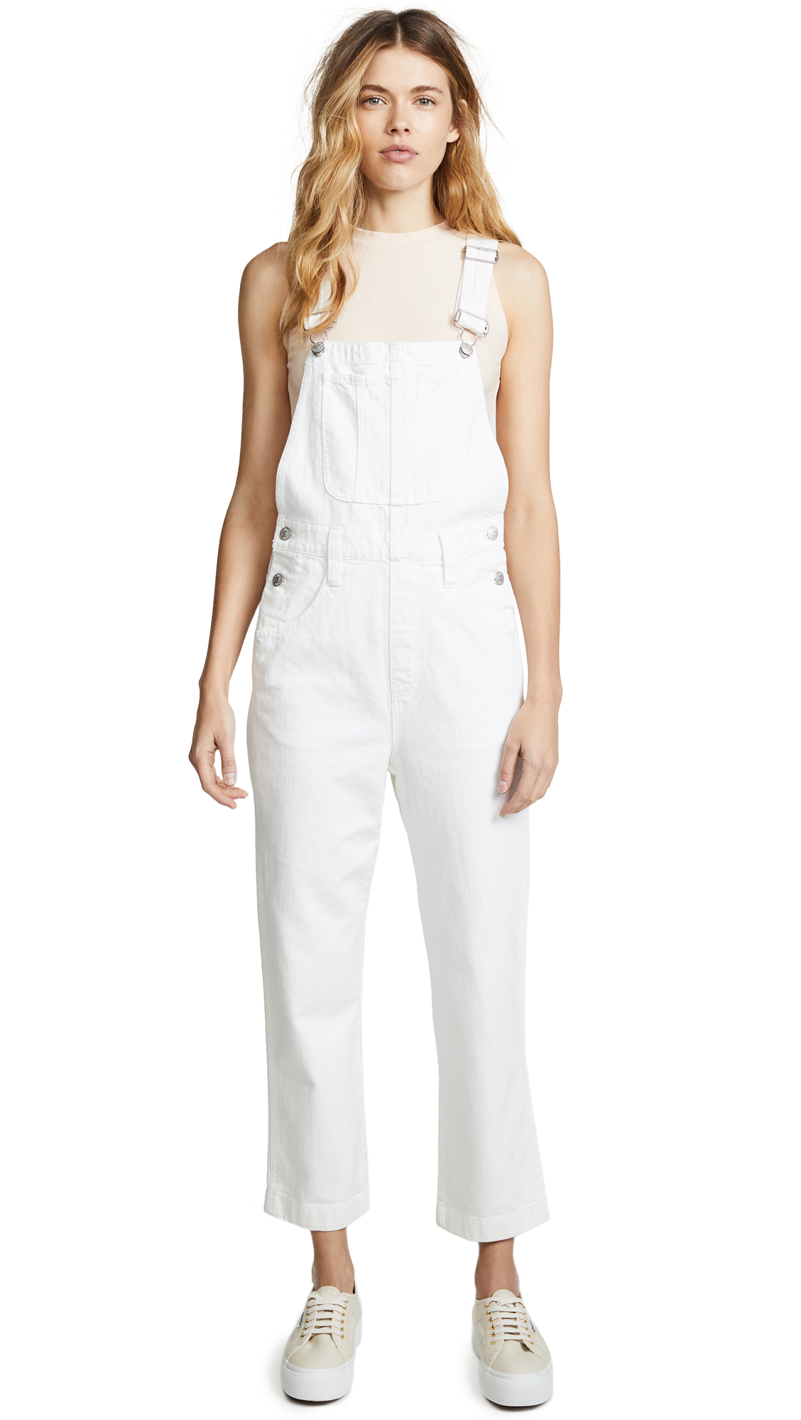Madewell Straight Leg Overalls In White