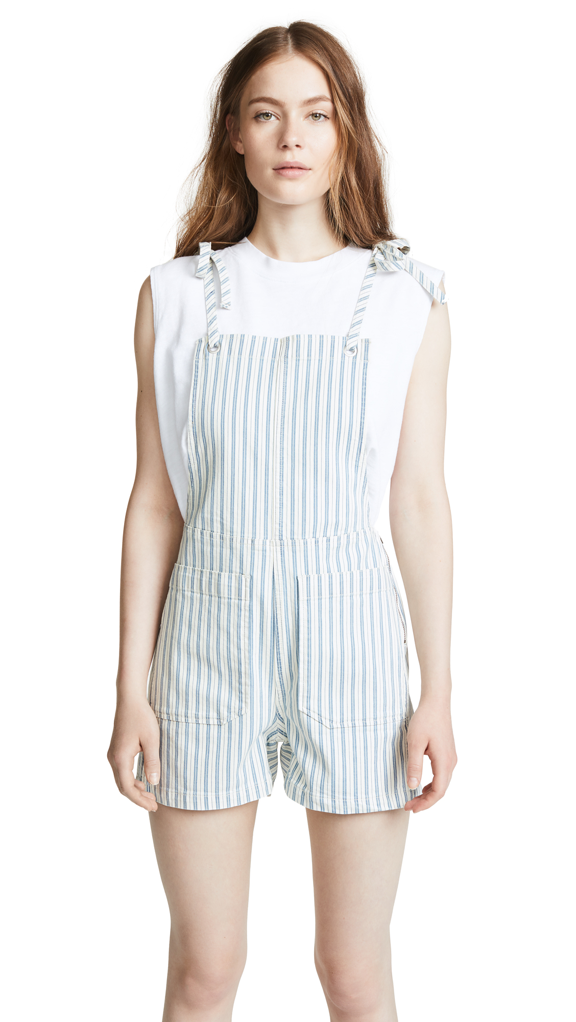 Madewell Denim Tie Strap Short Overalls In Dark Blue Stripe