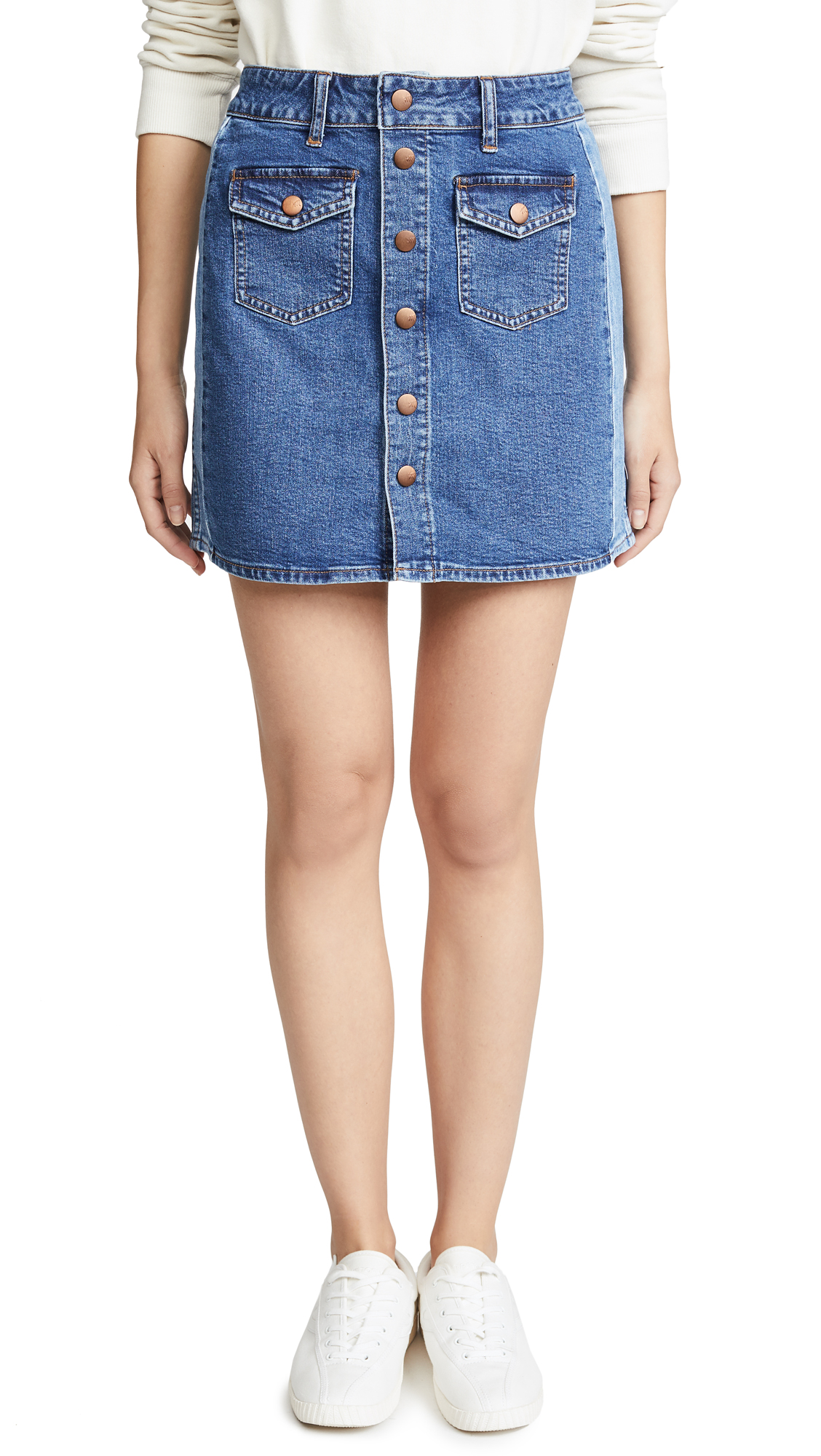 Madewell Beverly Pieced Jean Skirt In Denim