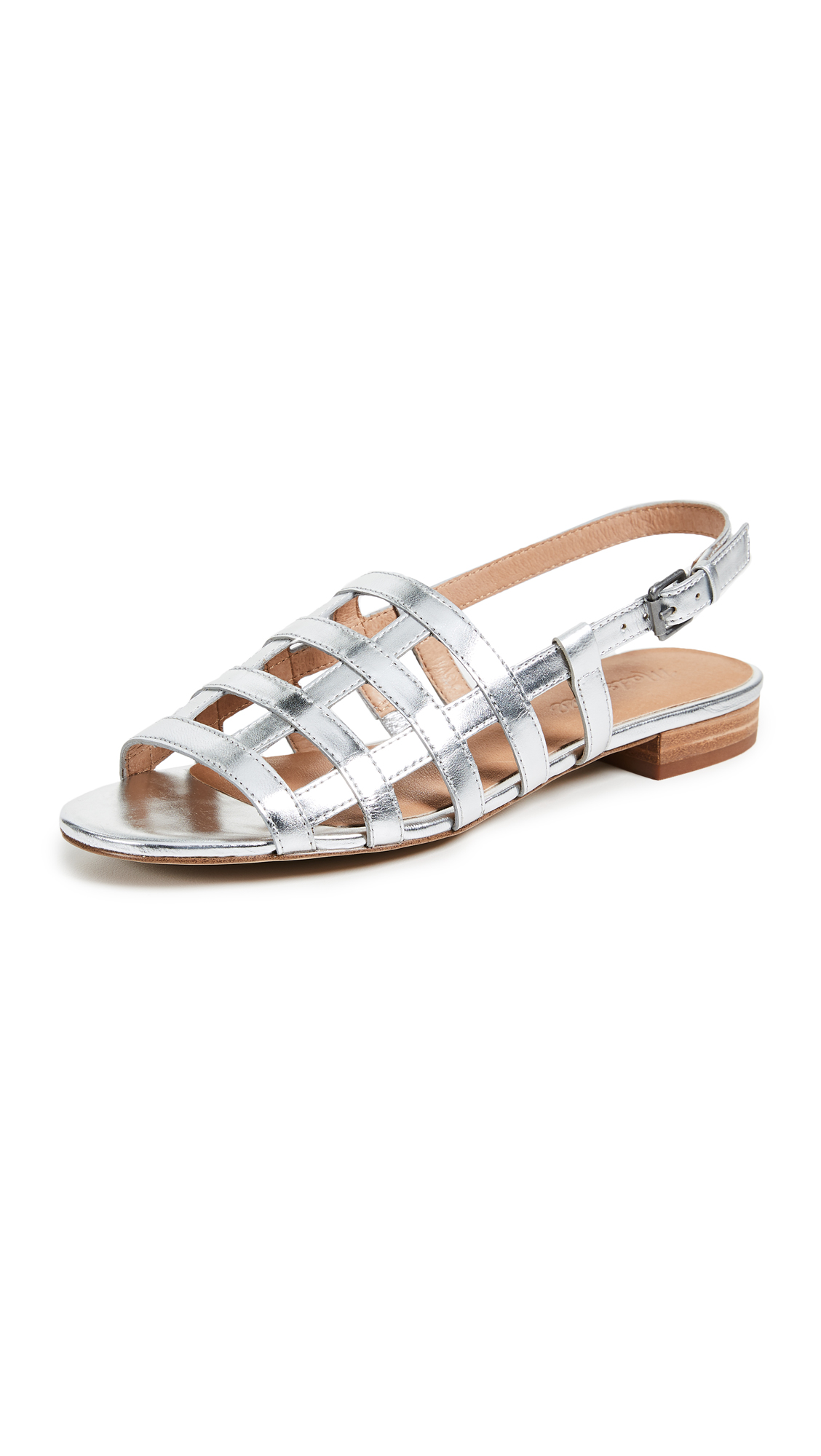 Madewell Holly Cage Sandals - Silver Metallic
