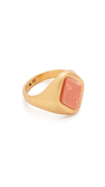 Madewell Pink Jade Signet Ring In Shiny Brass