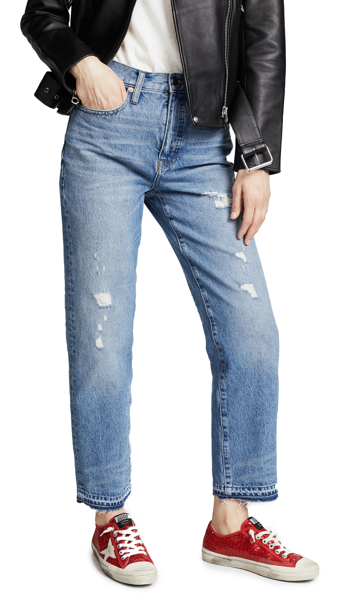 Madewell Destroyed Classic Straight Jeans In Tyler