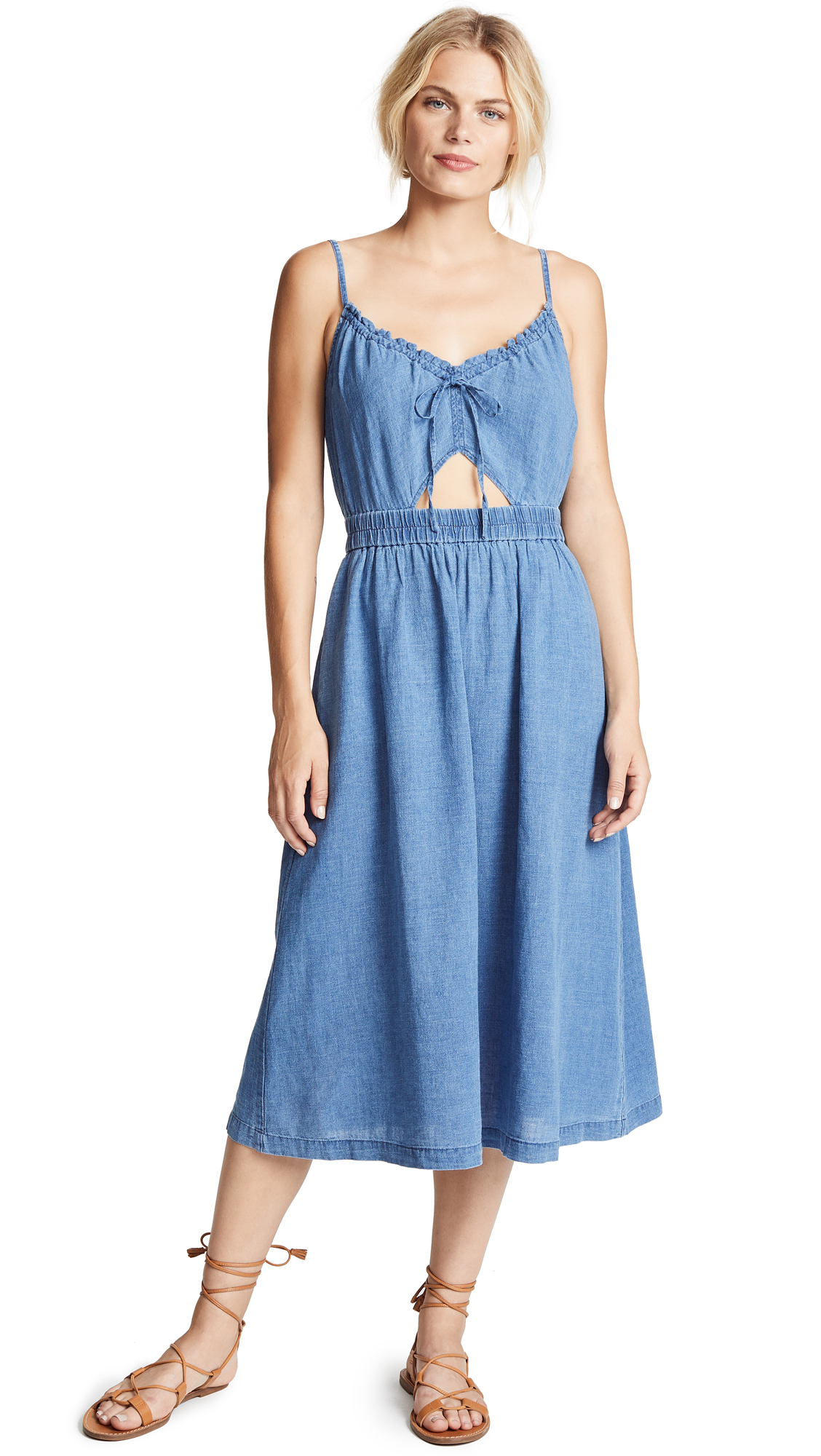 Madewell Indigo Cutout Cami Dress In Alexandra Wash