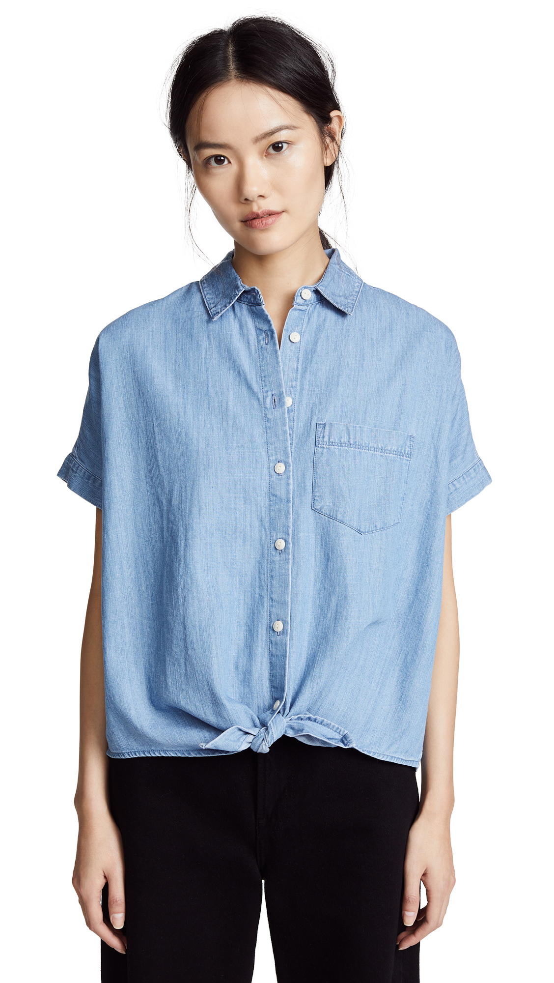 Madewell Chambray Tie Front Shirt In Hillford Wash
