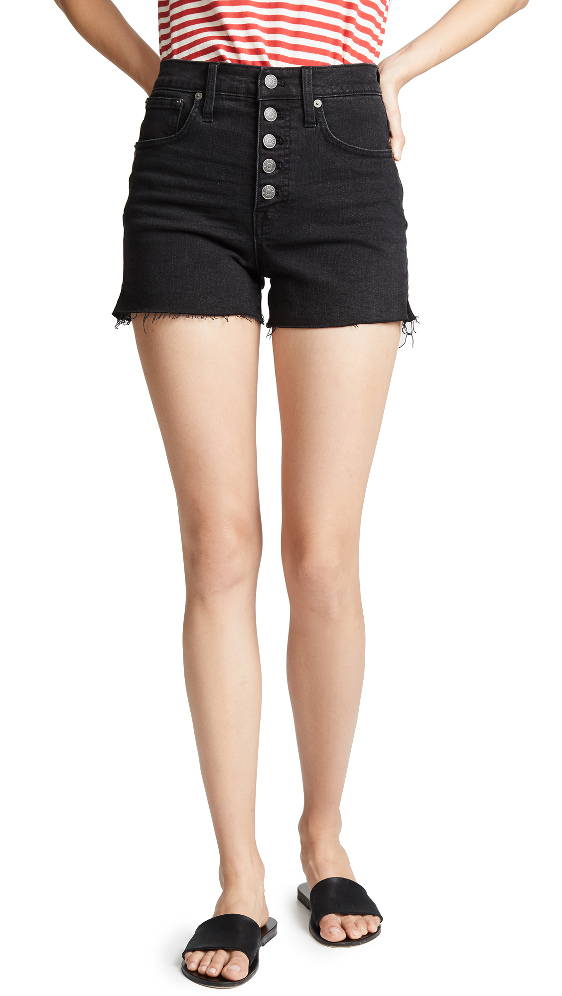 Madewell High-Rise Denim Boy Shorts In Lunar