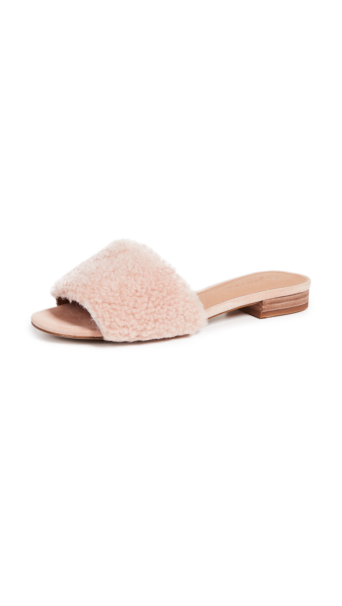 Madewell The Jackson Shearling Slide Sandals - Sheer Pink