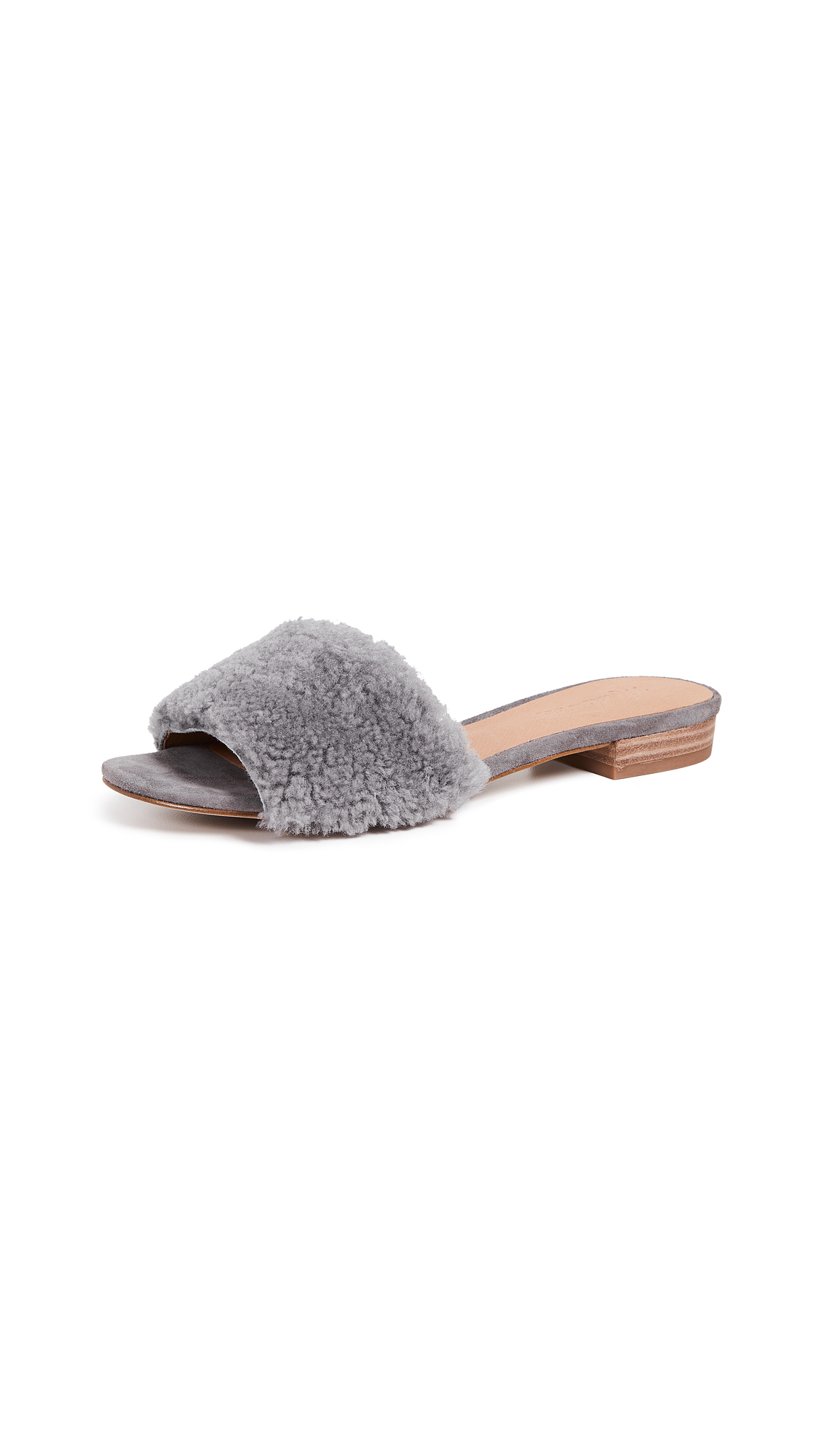Madewell The Jackson Shearling Slide Sandals - Stonewall
