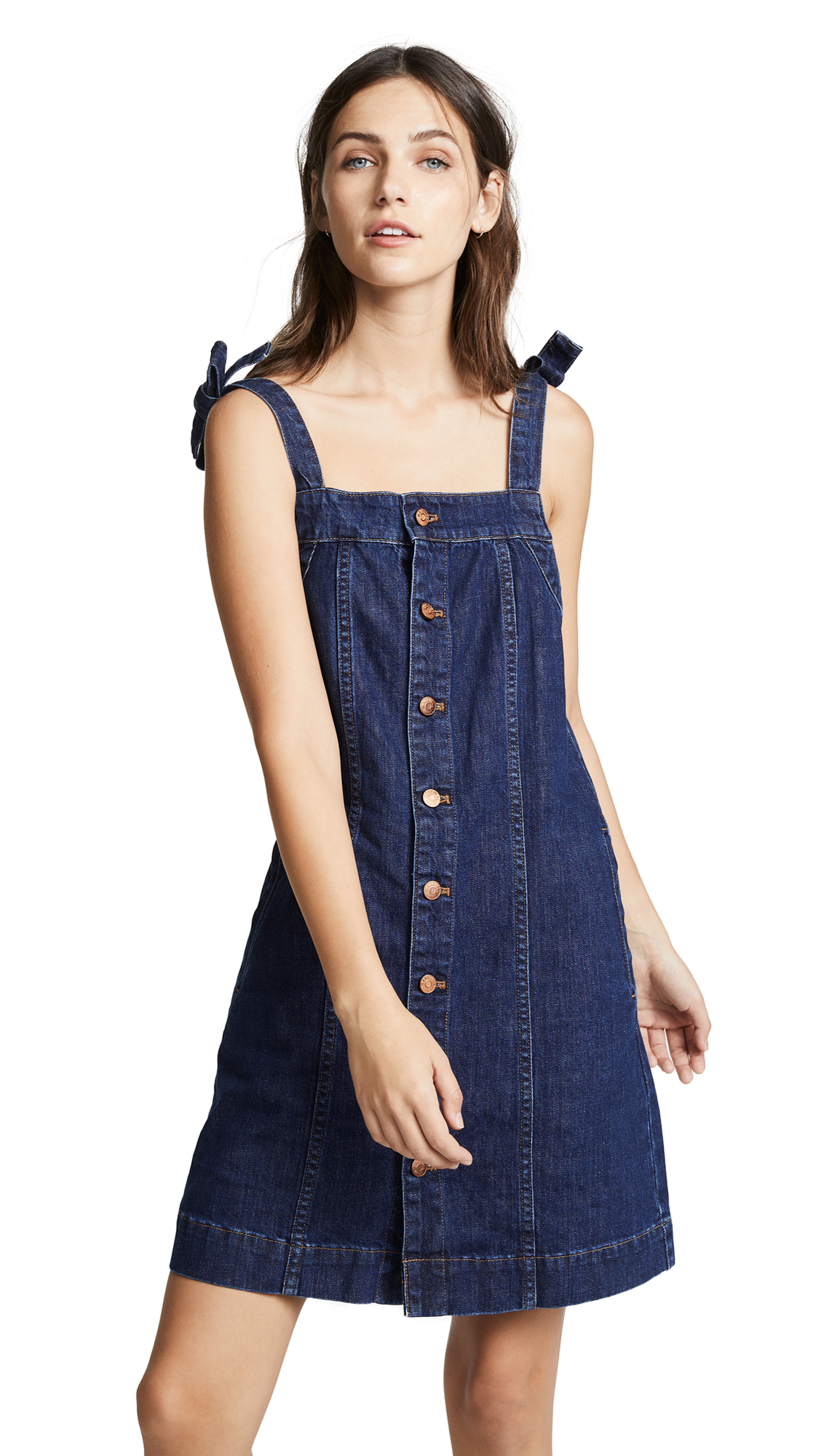 Madewell Denim Button Front Tank Dress In Clairette Wash