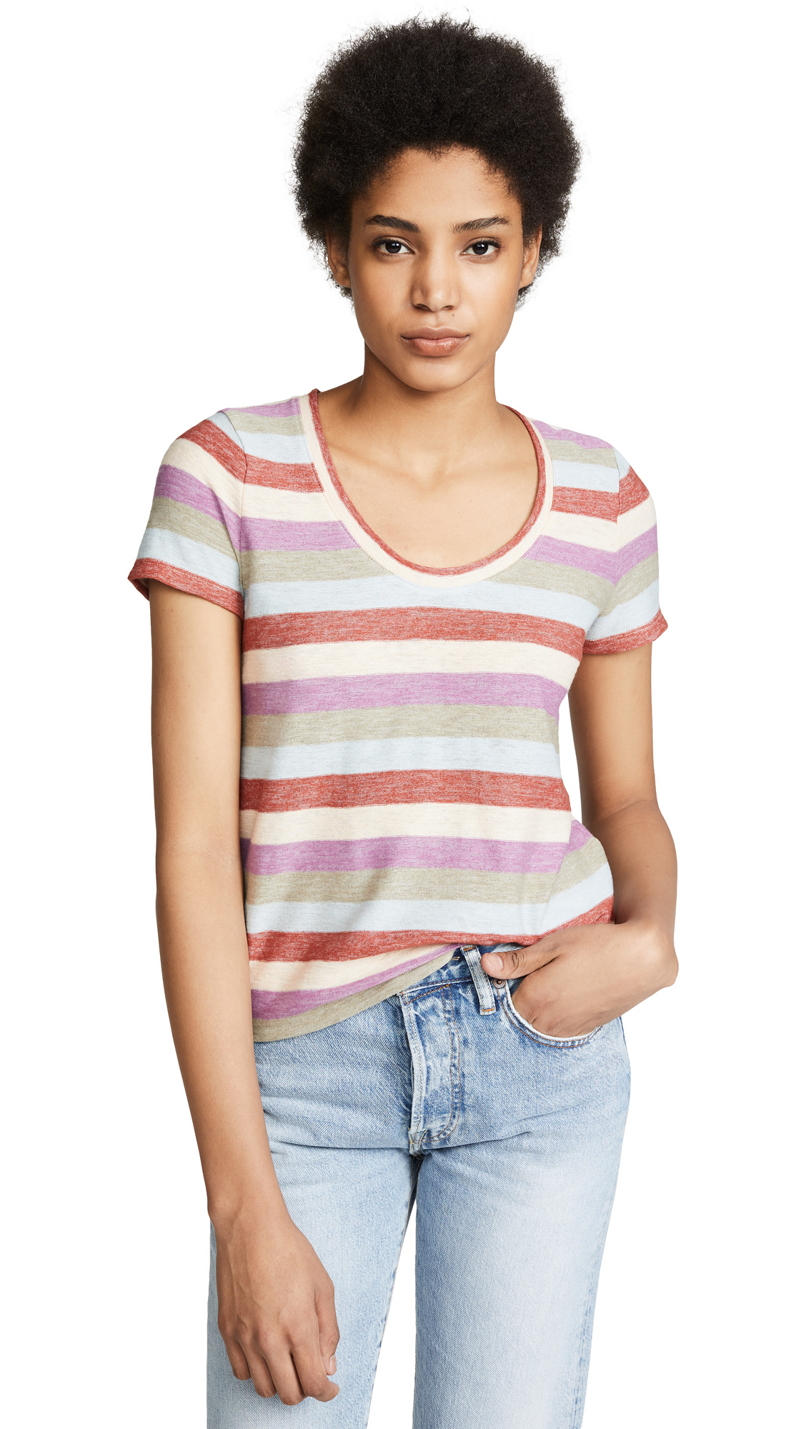 Gavin Caterpillar Stripe Tee in Antique Blue