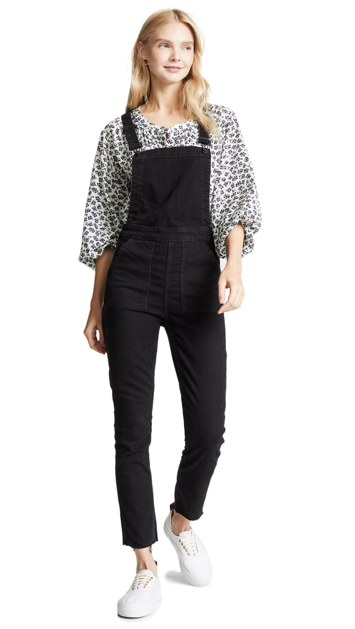 Madewell Washed Black Skinny Overalls In Lunar