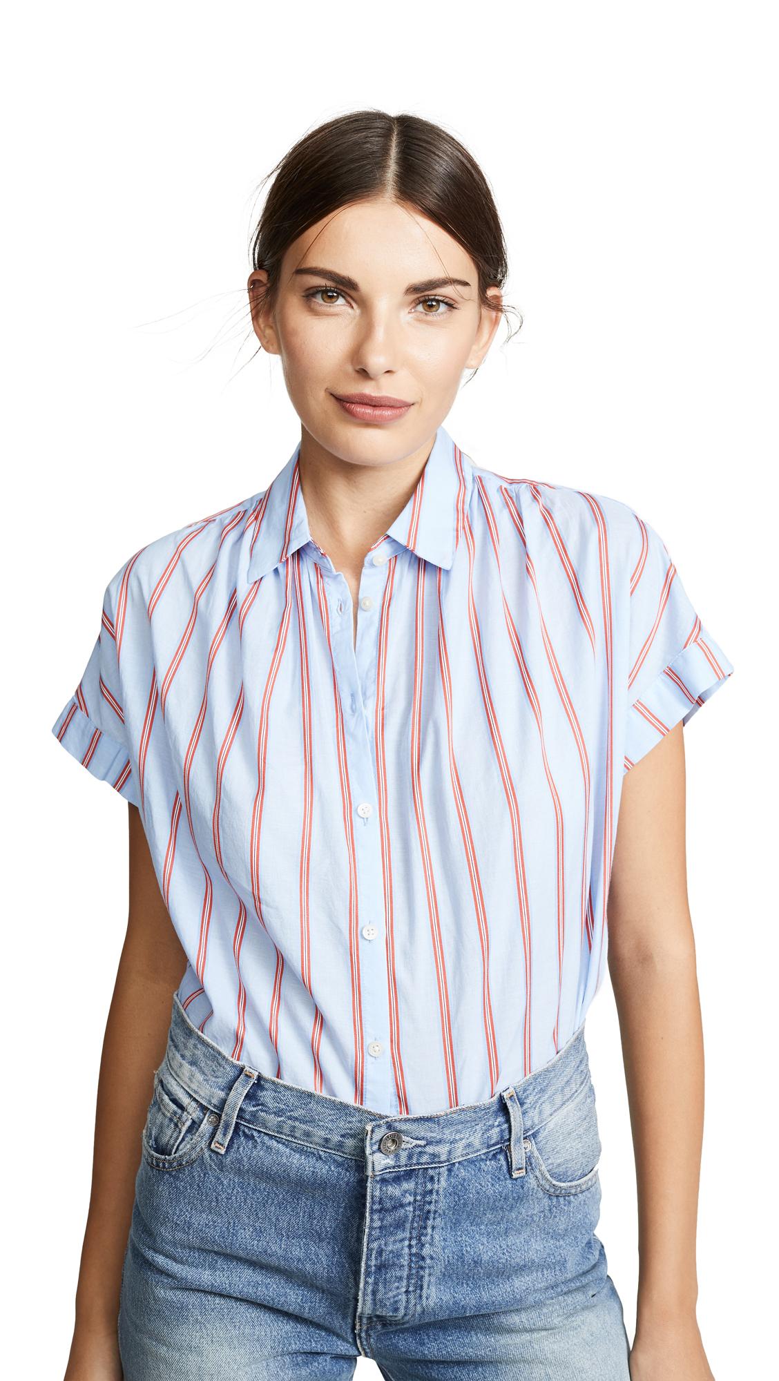 Madewell Joey Stripe Central Shirt In Dark Sea