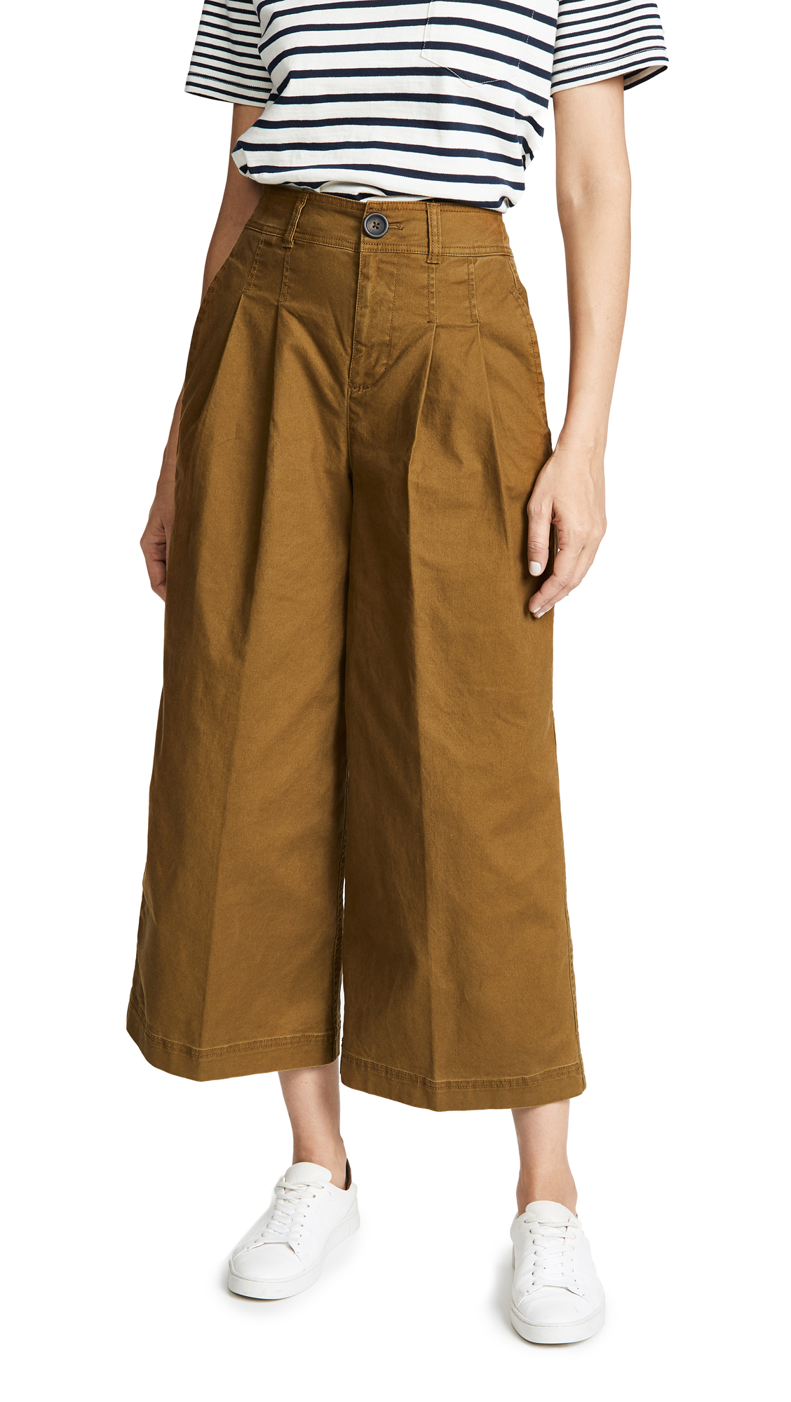 Madewell Pleated Wide Leg Pants - Weathered Olive