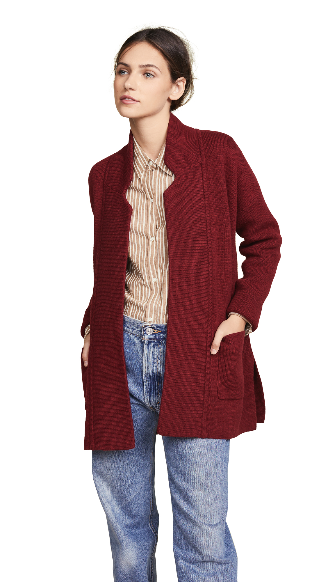 Madewell Hester Sweater Coat In Heather Burgundy