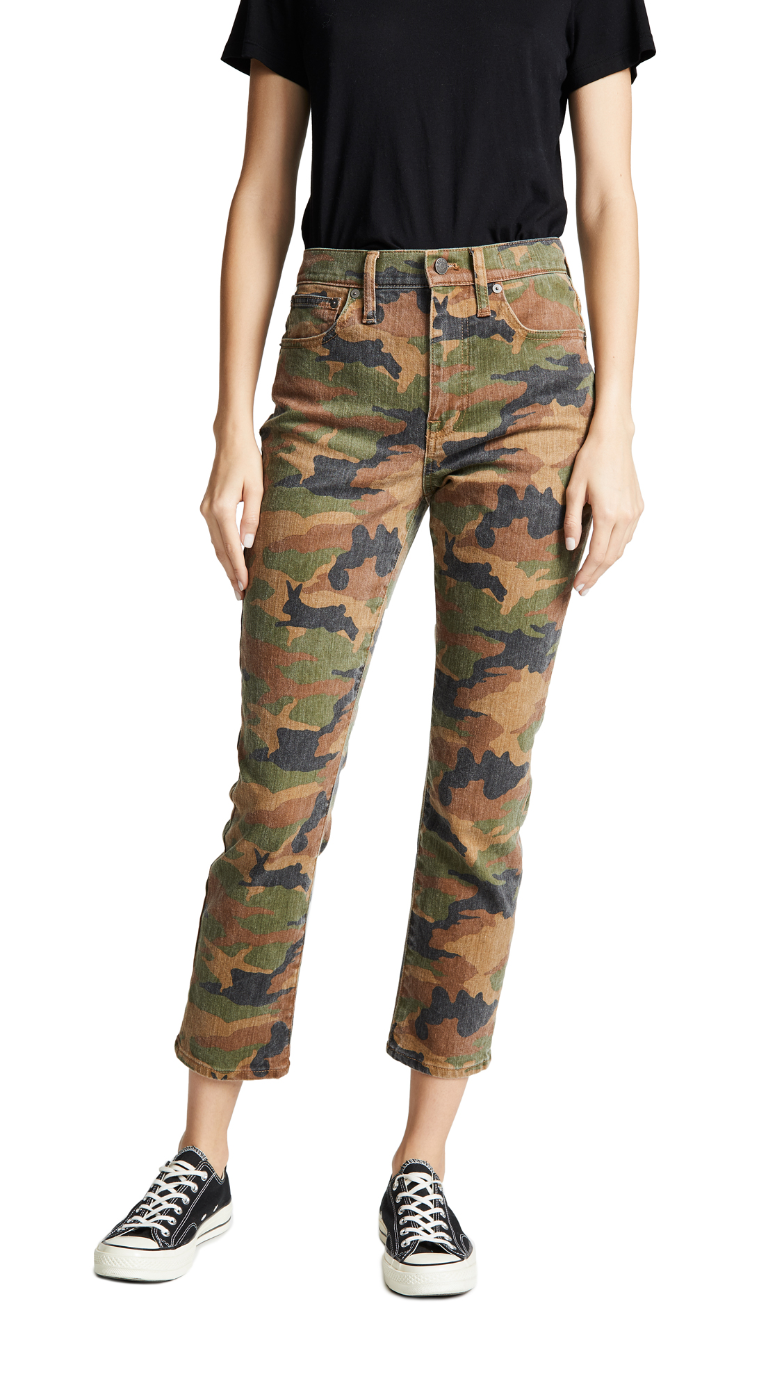 Fabric: Stretch denim Camo print Cropped profile Hidden zip at fly Button at waist Slant hip pockets Patch back pockets Shell: 98% cotton/2% elastane Wash cold Imported, China Measurements Measurements from size 29 Rise: 10.25in / 26cm Inseam: 26in / 66cm Leg opening: 13.5in / 34cm