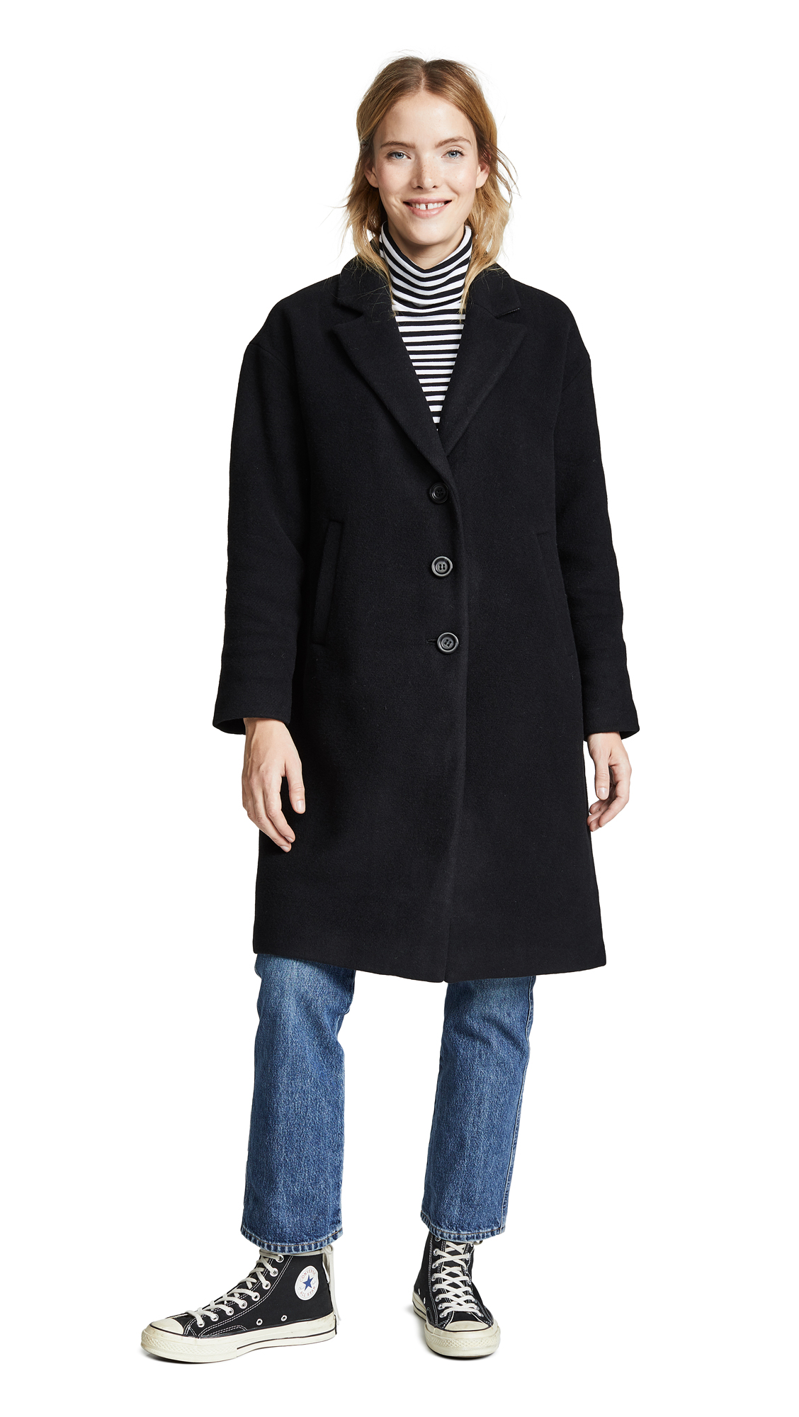 Madewell Long Cocoon Coat - True Black