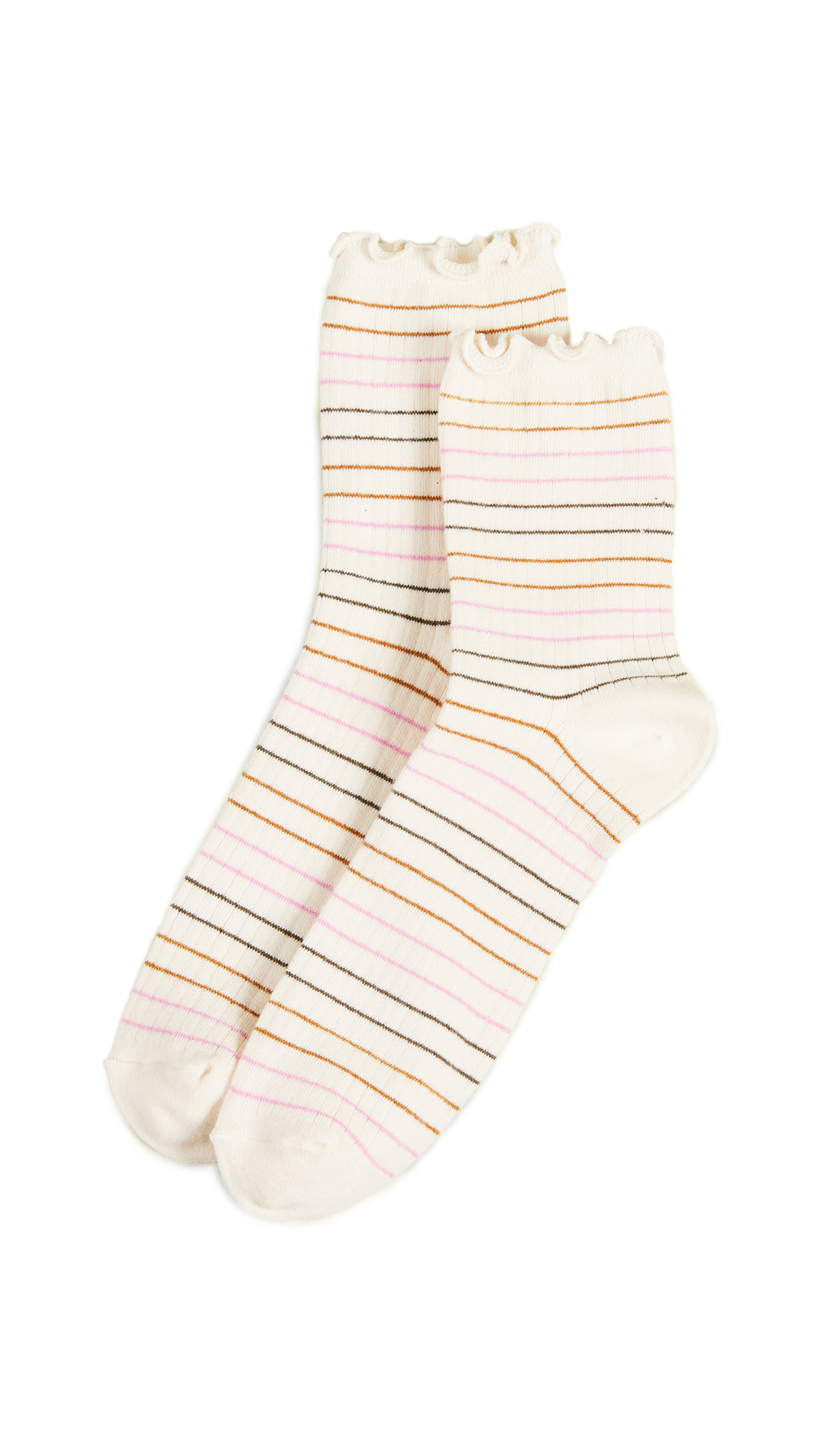 Madewell Simple Stripe Lettuce Socks In Cream/Multi